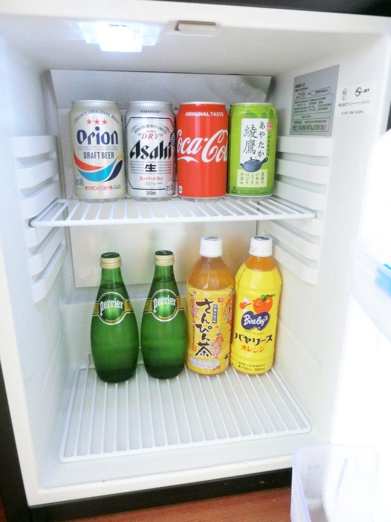客室の冷蔵庫内ドリンク
